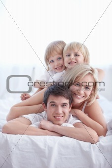 Family in the bedroom