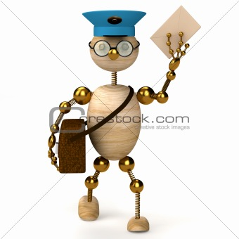 3d wood man postman  bring a letter
