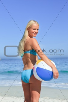 Wonderful woman with her ball