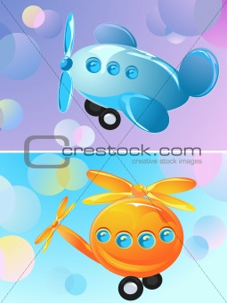 toy airplane and helicopter, two banner