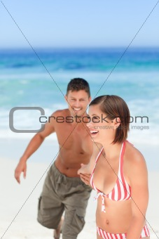 Smiling woman with her husband