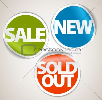 Set of labels for the new, sold out and discount item