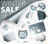 Set of silver winter discount elements