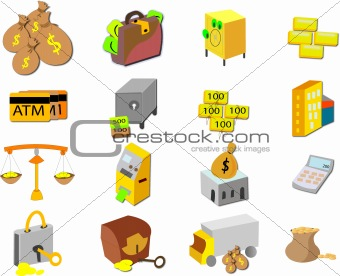 Collage of various finance related icons