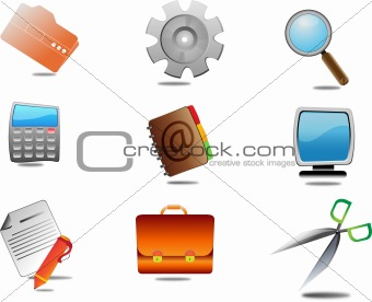 Illustration of 3d internet icons on white background