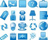 Set of web application icons in blue