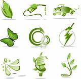 Go Green for Life - Collection of different biological icons
