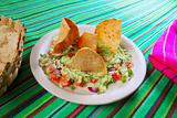 guacamole mexican salad with nachos totopos