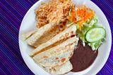 quesadillas rice salad frijoles sauce Mexican food