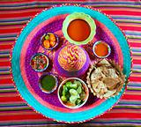 Mexican sauces spices chili on Mexican hat