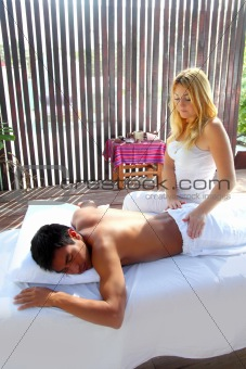 Massage therapy physiotherapy in jungle cabin