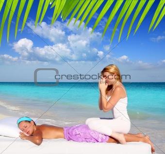 Caribbean beach massage meditation shiatsu woman