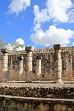 Columns Mayan Chichen Itza Mexico ruins in rows