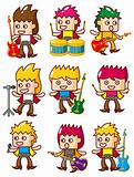 cartoon rock music band icon