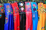 Mayan woman dress embroidery Yucatan Mexico