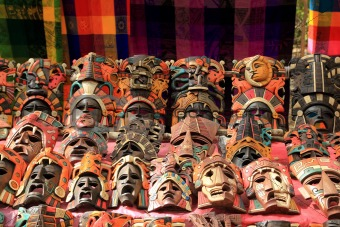 Description: Colorful Mayan mask indian culture in Jungle handcrafts