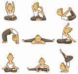 cartoon yoga girl icon