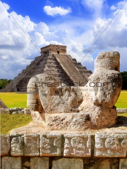 Ancient Chac Mool Chichen Itza figure Mexico