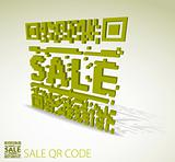 Green 3D qr code for discounted item