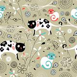 seamless pattern of spring with cats