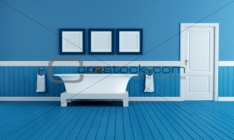 old style blue bathroom