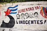 Mural depicting the 5 Cuban Heroes