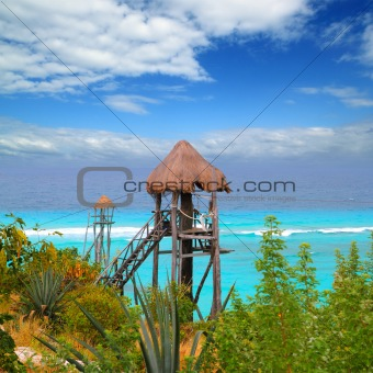 Caribbean zip line tyrolean turquoise sea