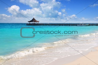 Caribbean sea truquoise beach pier hut