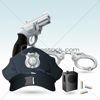 Handcuff with Police Hat and Gun