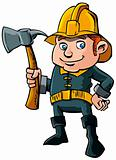 Cartoon Fireman with axe