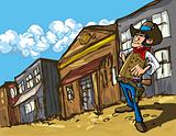 Cartoon cowboy in a western old west town