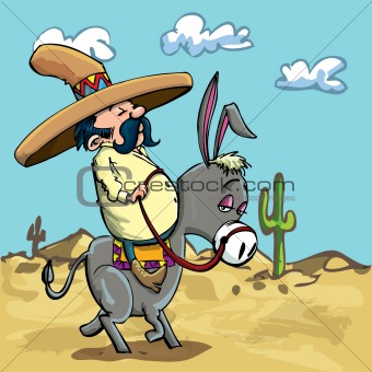 Cartoon Mexican riding a donkey in the desert