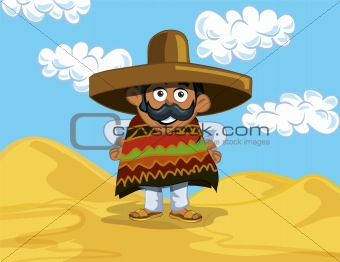 Cartoon Mexican in the desert
