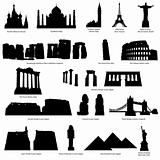 landmarks silhouette set