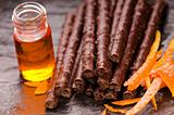 chocolate sticks with orange