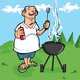 Cartoon of man having a BBQ