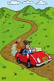 Cartoon man driving his red sportscar