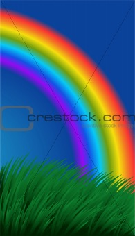 Background with grass and a rainbow