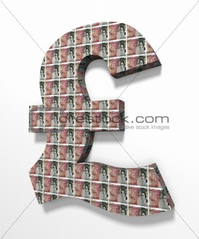 Pound 3D Textured with 50 pounds banknote