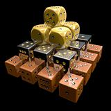 Dice Pyramid 3D on Black Background