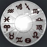 Silver Disk with Brown Zodiac Signs