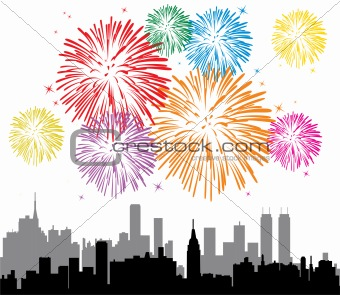 fireworks over a city