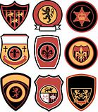 heraldic royal emblem badge set