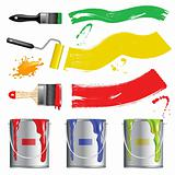 Vector paint buckets and brushes