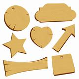 Wooden banners signs and labels