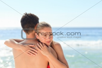 Enamored couple at the beach