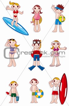 cartoon summer people icon