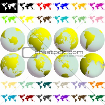 earth globes and maps against white