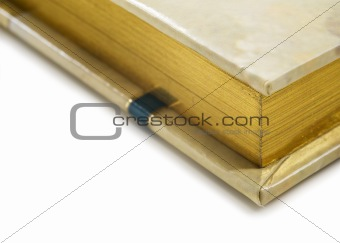 Close up of a golden colored journal on white