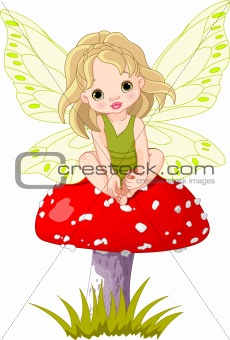 Baby Fairy on the Mushroom